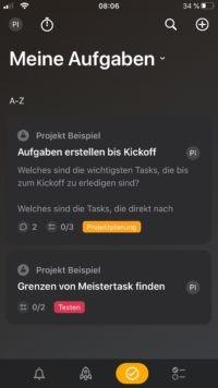 Aufgaben der Meistertask App