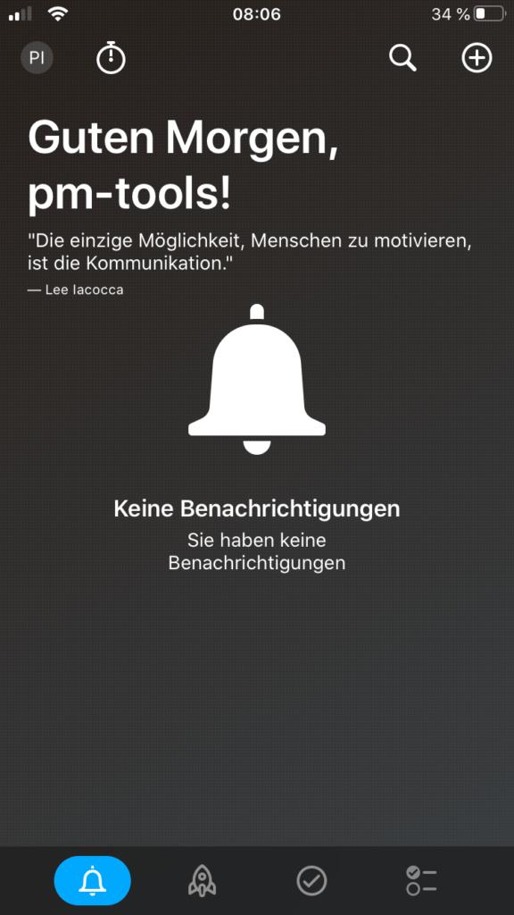 Dashboard der Meistertask App