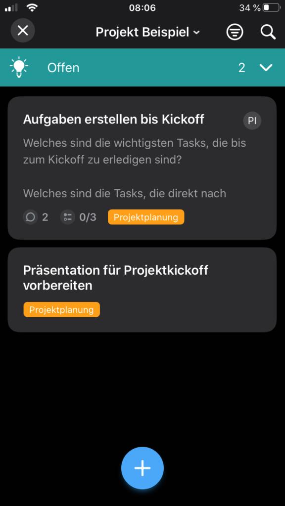 Projekt Board der Meistertask App