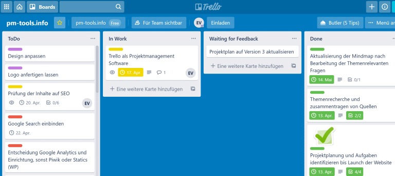 Ein Kanban Board beim Projektmanagement Tool Atlassian Trello