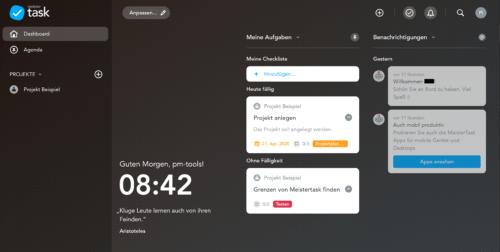 Das MeisterTask Dashboard als Einstieg in den Tag - die Farbe des Hintergrunds ist wählbar.