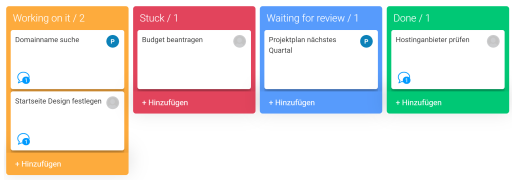 """Lists are displayed on the Kanban board: """"ToDo"""", Done"""", """"InWork""""."""