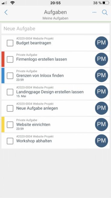 Die Aufgabenliste der App