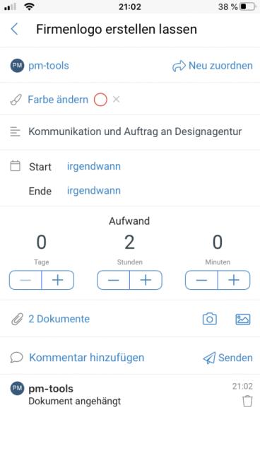 Aufgabenbearbeitung der InLoox App