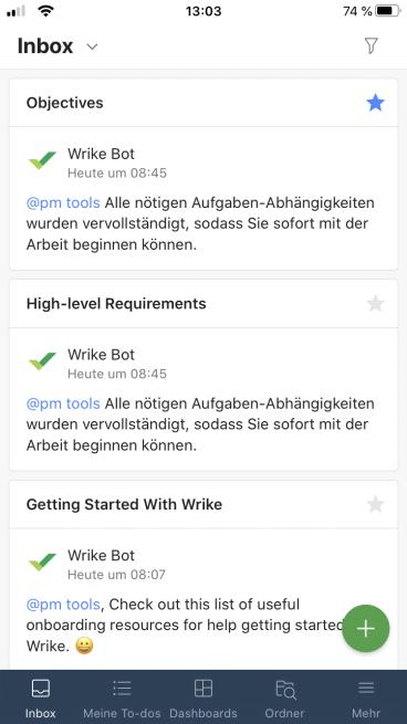 Die Inbox der Wrike App