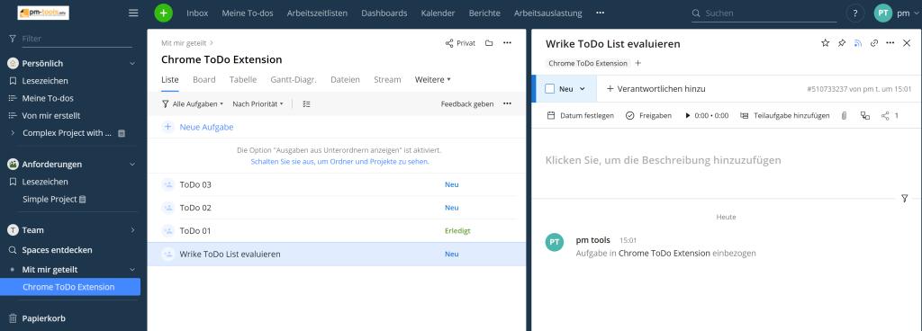 Im Ordner Chrome ToDo Extension werden die neuen Aufgaben gelistet.