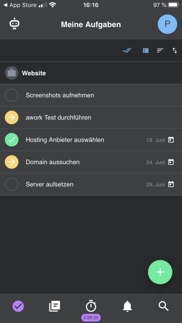 Die Aufgaben in der awork App