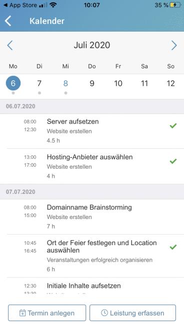 factro App Kalender