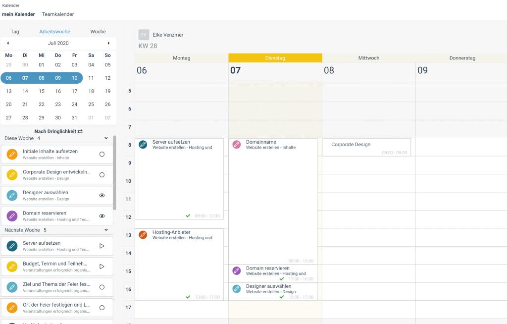 Kalender und Zeitbuchung in factro