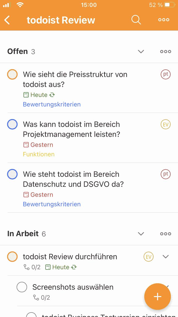 Todoist App Listenansicht